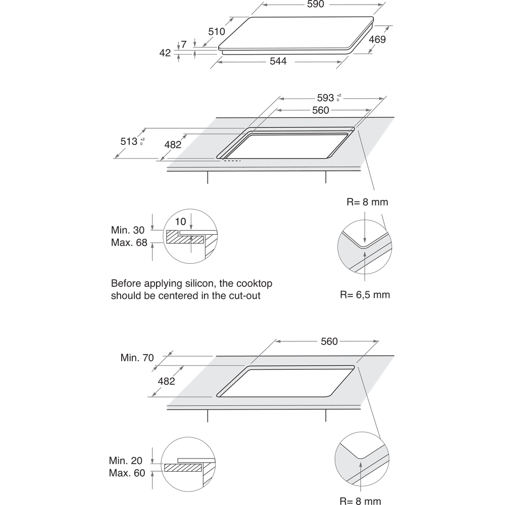 Indesit Варочная поверхность ING 61T/BK Черный Газовая Technical drawing