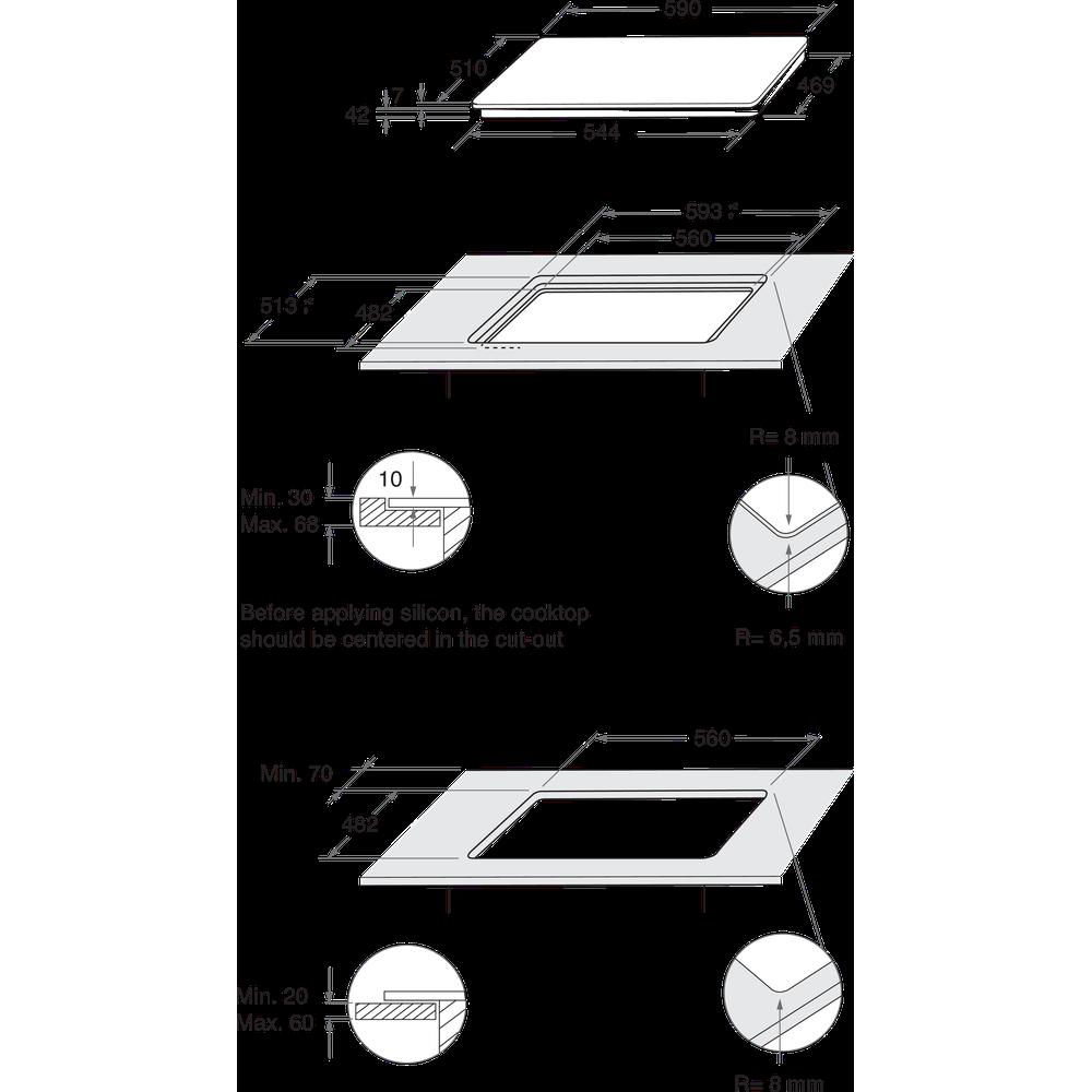 Indesit Варочная поверхность ING 62T/BK Черный Газовая Technical drawing
