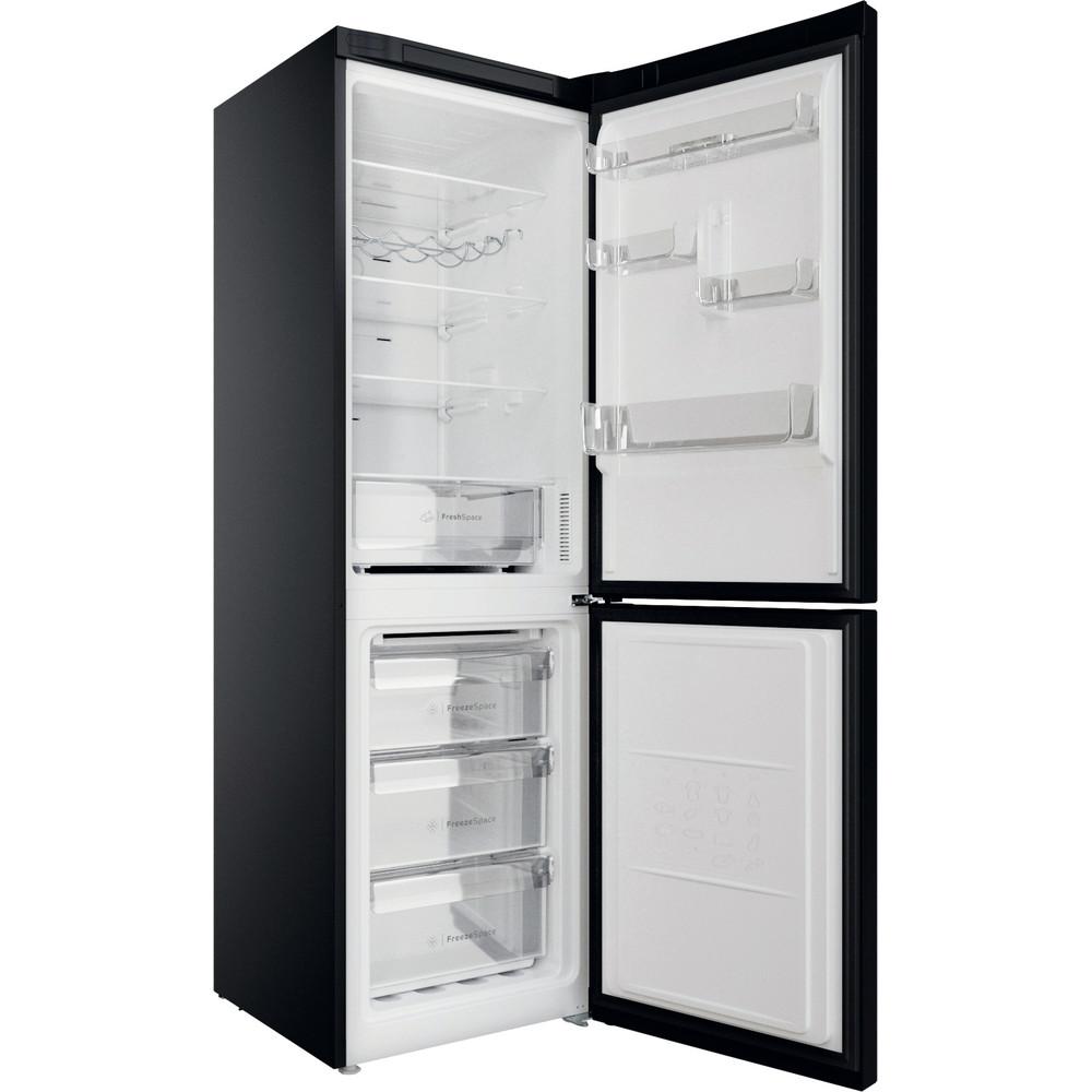Indesit Réfrigérateur combiné Pose-libre INFC8 TO22K Noir 2 portes Perspective open