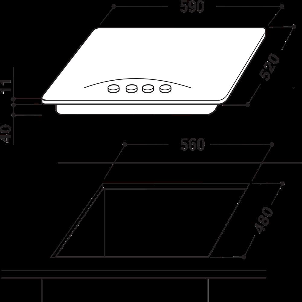 Indesit Варочная поверхность PN 642 /I (OW) Винтажный белый Газовая Technical drawing