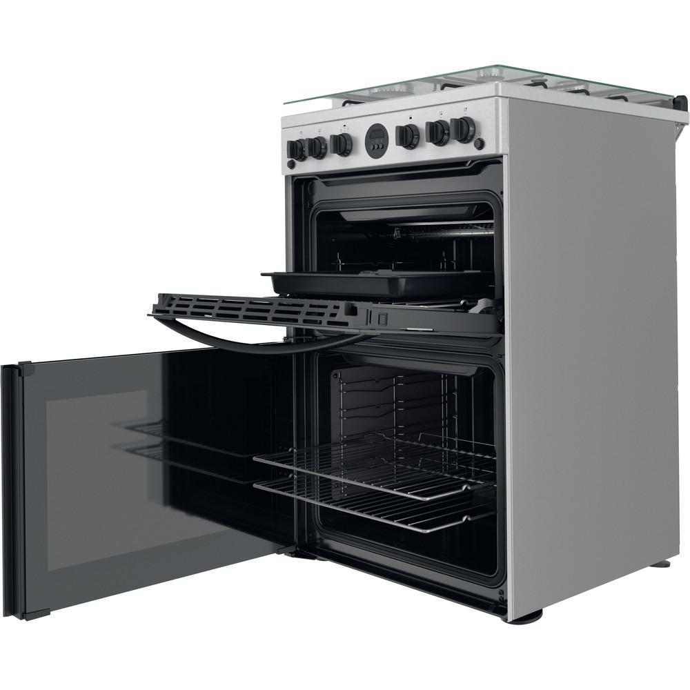 Indesit Double Cooker ID67G0MCX/UK Inox A+ Perspective open