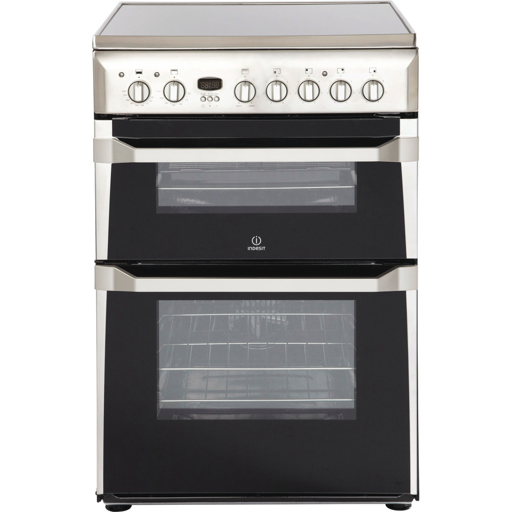 Indesit Double Cooker ID60C2(X) S Inox B Vitroceramic Frontal
