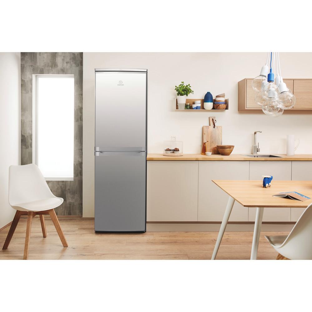 Indesit Combiné réfrigérateur congélateur Pose-libre CAA 55 NX 1 Inox 2 portes Lifestyle frontal