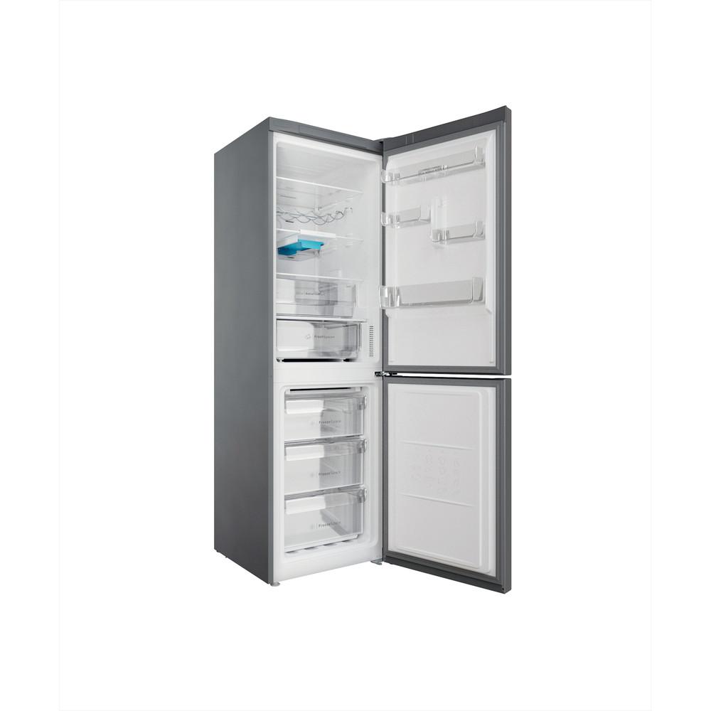 Indesit Combiné réfrigérateur congélateur Pose-libre INFC8 TT33X Inox 2 portes Perspective open
