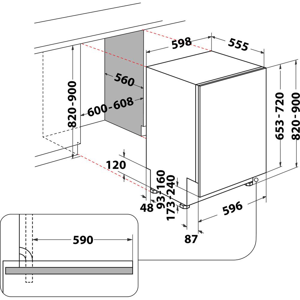 Indesit Mašina za pranje posuđa ugradbeni DIE 2B19 A A scomparsa totale F Technical drawing