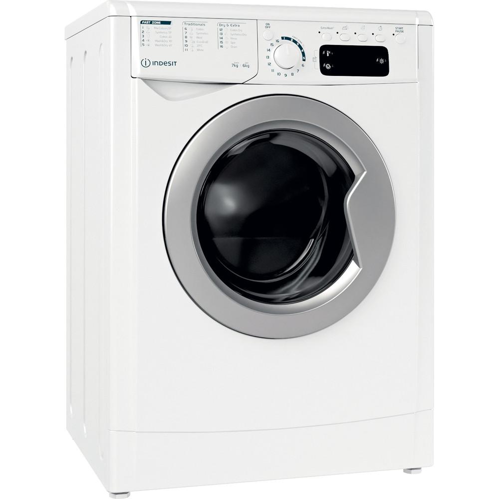 Indesit Mašina za pranje i sušenje veša Samostojeći EWDE 761483 WS EE N Bijela Front loader Perspective