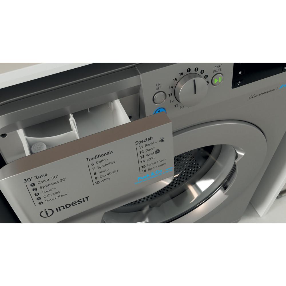 Indesit Washing machine Free-standing BWE 91483X S UK N Silver Front loader D Drawer
