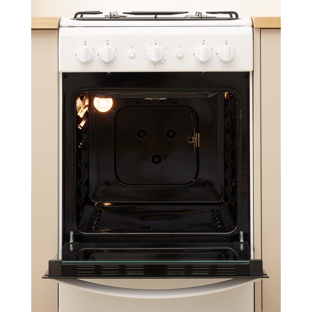 Indesit Cooker IS5G1KMW/U White GAS Lifestyle frontal open