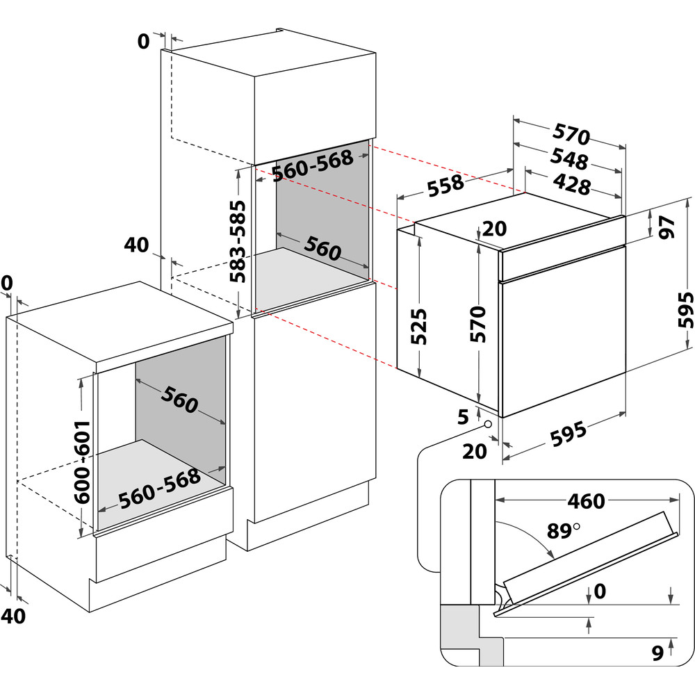 Indesit Oven Inbouw IFW 3844 P IX Elektrisch A+ Technical drawing