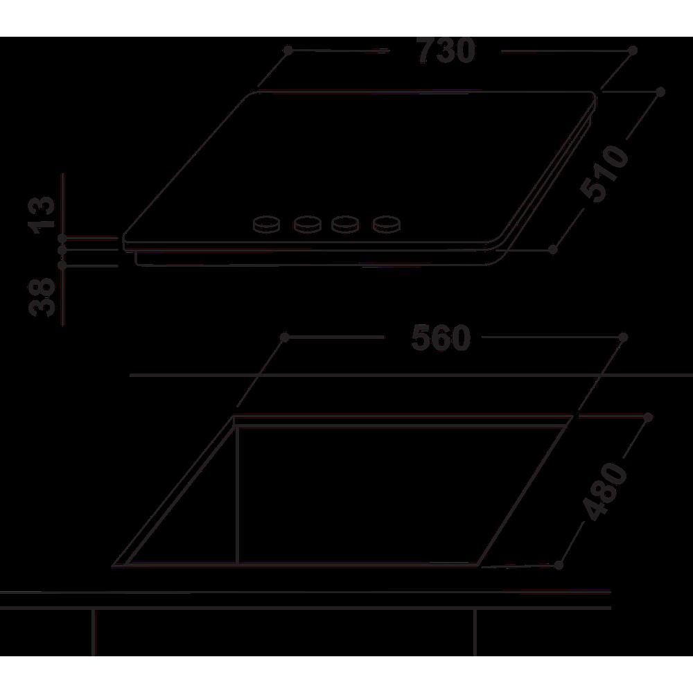 Indesit HOB THA 752 IX/I Inox GAS Technical drawing