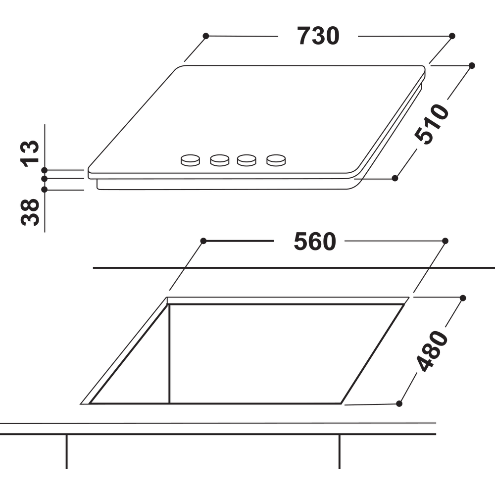 Indesit Kookplaat THP 751 W/IX/I NL Rvs Gas Technical drawing