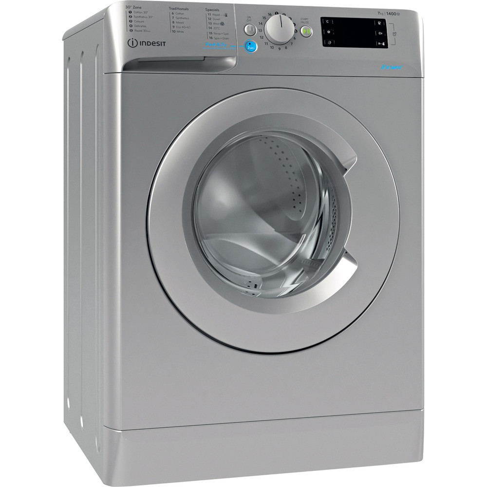 Indesit Washing machine Free-standing BWE 71452 S UK N Silver Front loader E Perspective