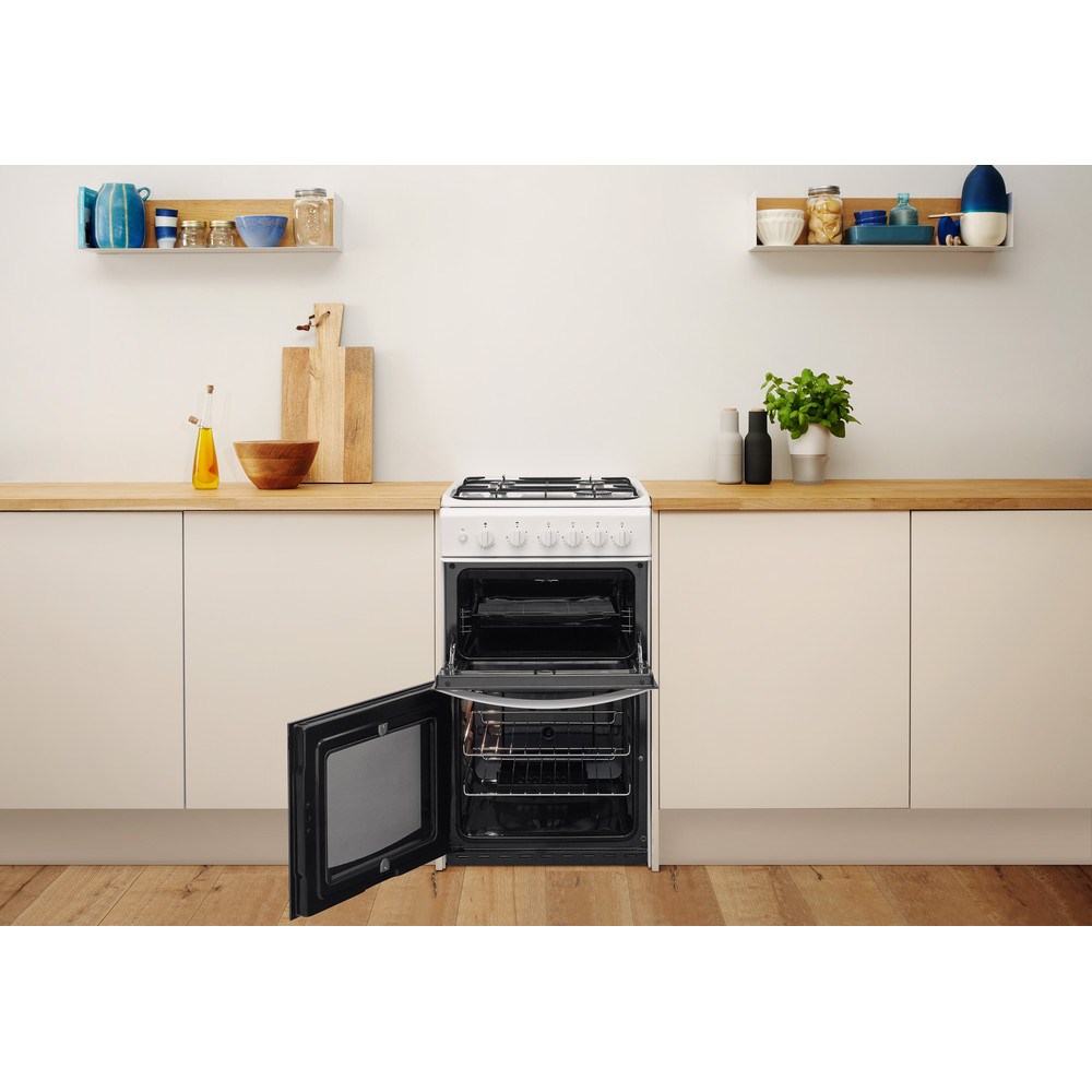 Indesit Double Cooker ID5G00KCW/UK White A+ Enamelled Sheetmetal Lifestyle frontal open
