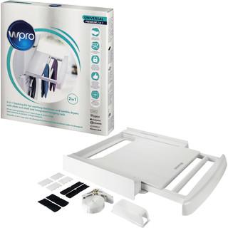 Kit di sovrapposizione 2 in 1 per lavatrice e asciugatrice con ripiano estraibile e stendibiancheria integrato