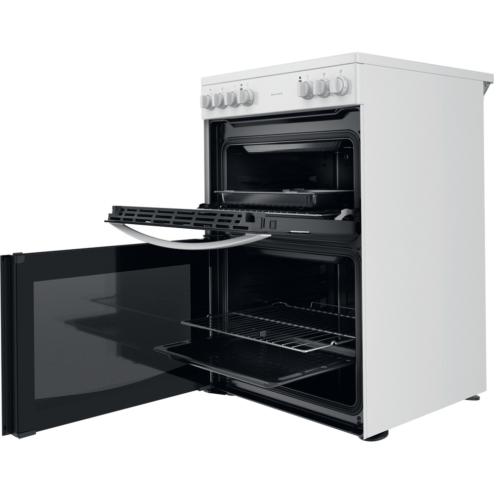 Indesit Double Cooker ID67V9KMW/UK White A Perspective open