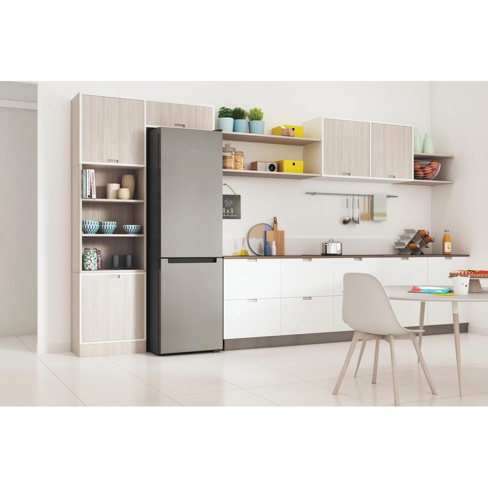 Indesit Combiné réfrigérateur congélateur Pose-libre INFC9 TI22X Inox 2 portes Lifestyle perspective