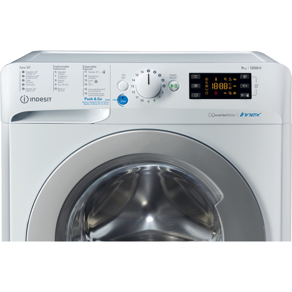 Indesit Máquina de lavar roupa Livre Instalação BWE 91284X WS SPT N Branco Carga Frontal C Control panel