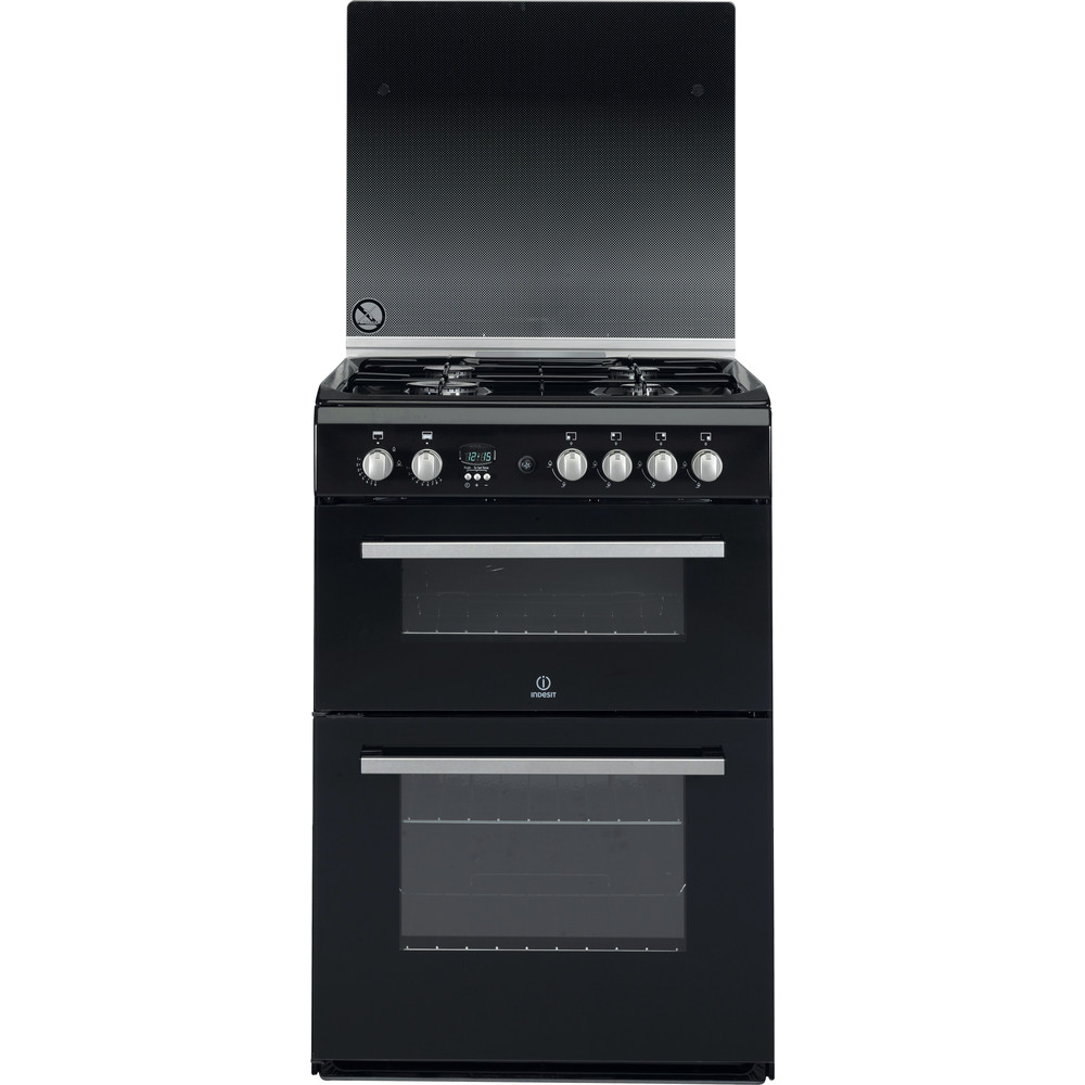 Indesit Double Cooker DD60G2CG(K)/UK Black A+ Enamelled Sheetmetal Frontal