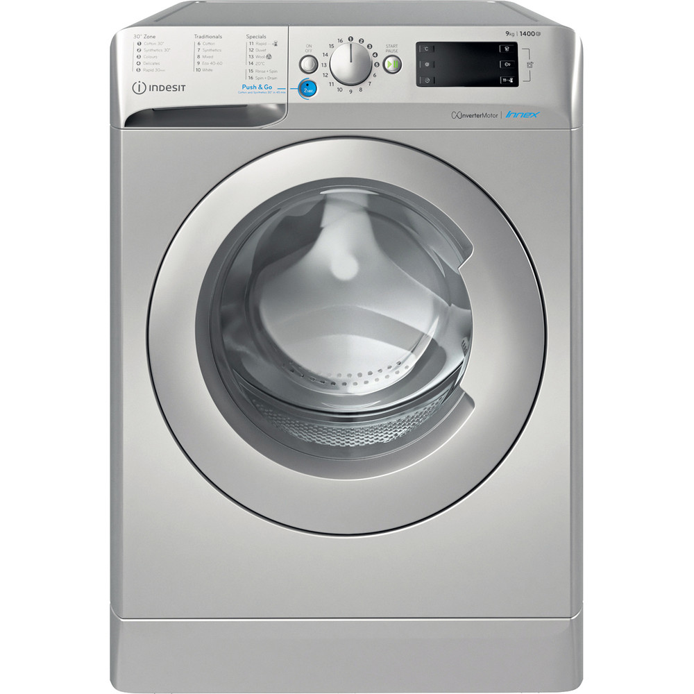 Indesit Washing machine Free-standing BWE 91483X S UK N Silver Front loader D Frontal