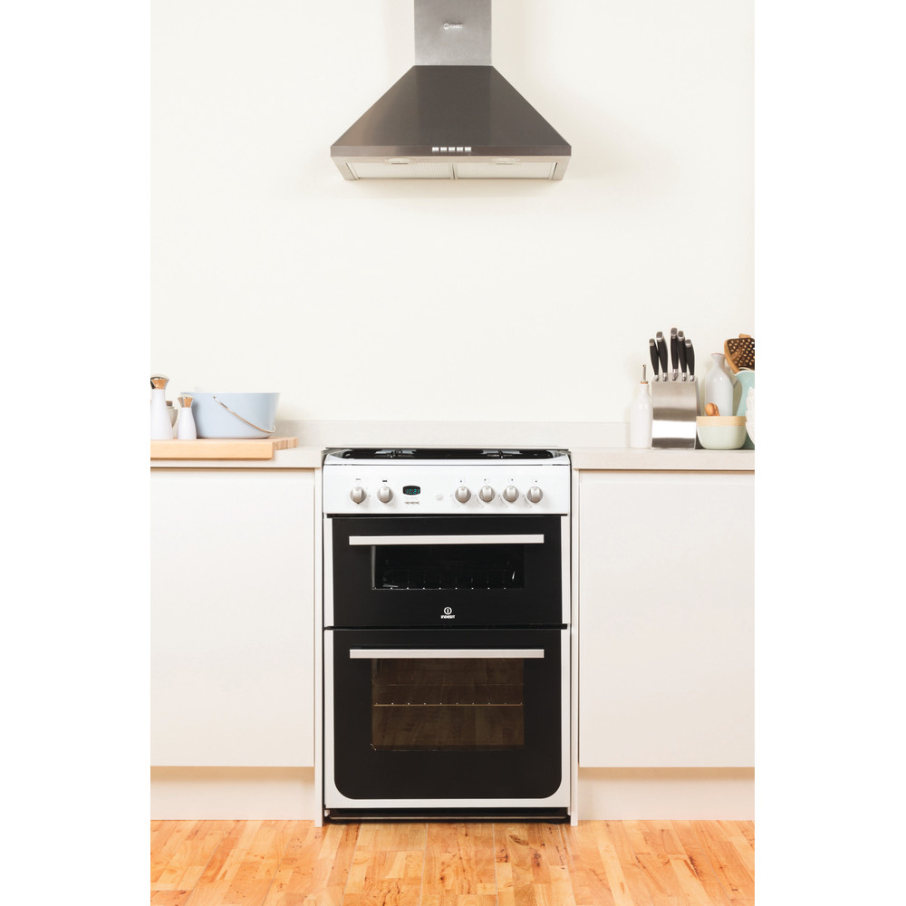 Indesit Double Cooker DD60G2CG(W)/UK White A+ Enamelled Sheetmetal Lifestyle_Frontal
