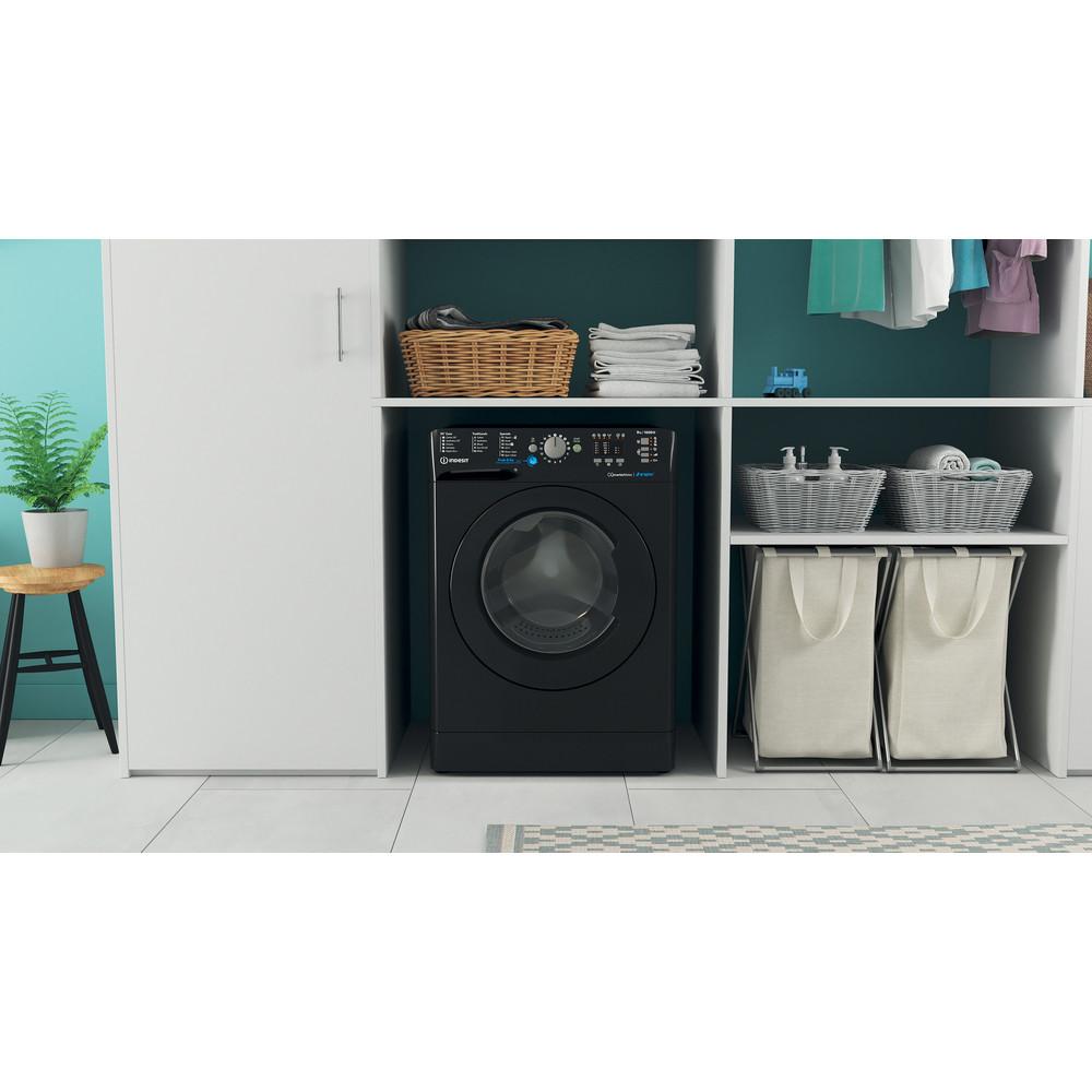 Indesit Washing machine Free-standing BWA 81683X K UK N Black Front loader A+++ Lifestyle frontal