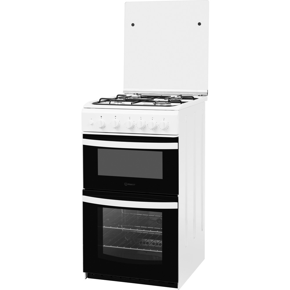 Indesit Double Cooker ID5G00KMW/UK /L White A+ Enamelled Sheetmetal Perspective
