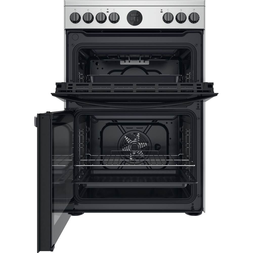 Indesit Double Cooker ID67V9HCX/UK Inox A Frontal open