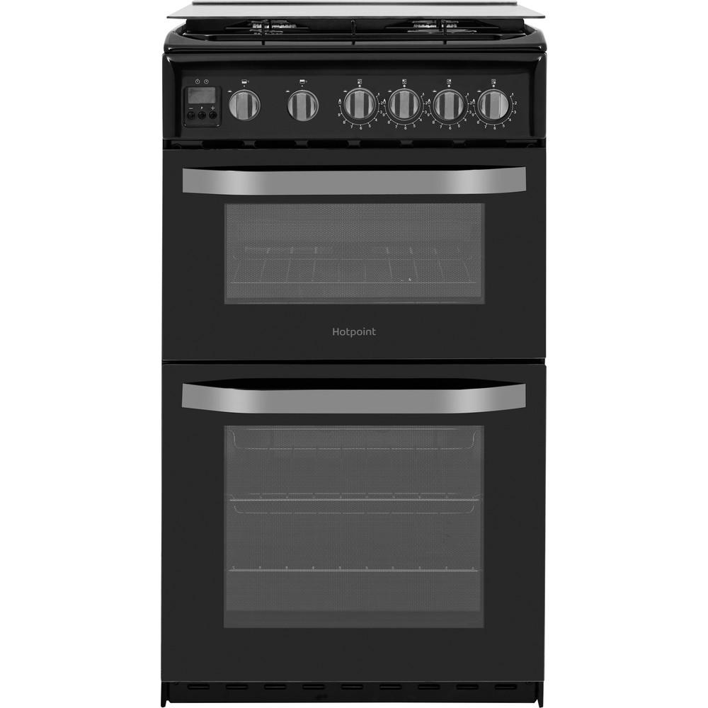 Hotpoint Double Cooker HD5G00CCBK/UK Black A+ Enamelled Sheetmetal Frontal