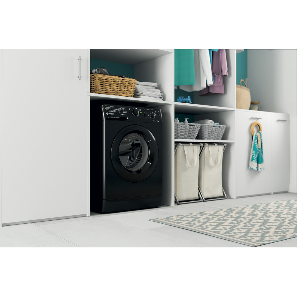 Indesit Washing machine Free-standing MTWC 71252 K UK Black Front loader A++ Lifestyle perspective