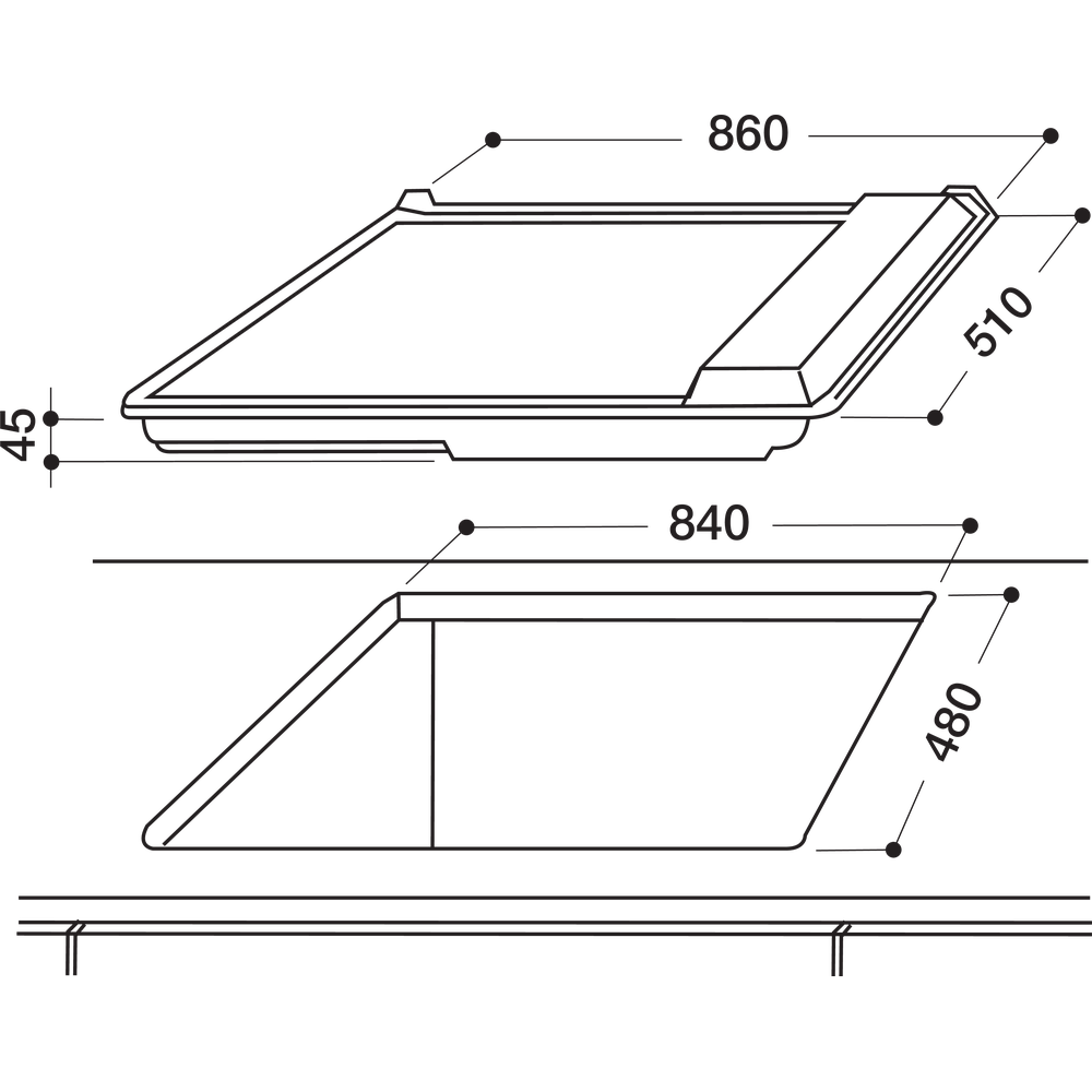Indesit Piano cottura PIM 950 AST (GH) EX Inox GAS Technical drawing