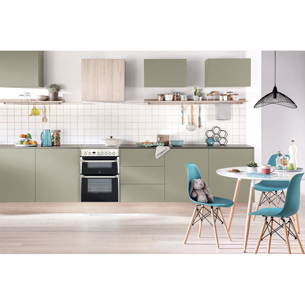 Indesit Double Cooker ID60C2(X) S Inox A Vitroceramic Lifestyle frontal