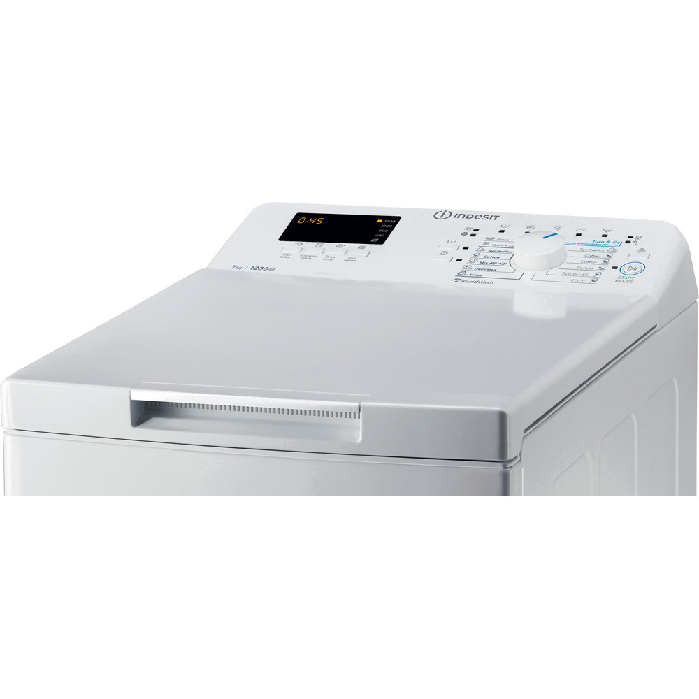 Indesit Pračka Volně stojící BTW S72200 EU/N Bílá Top loader A+++ Control panel