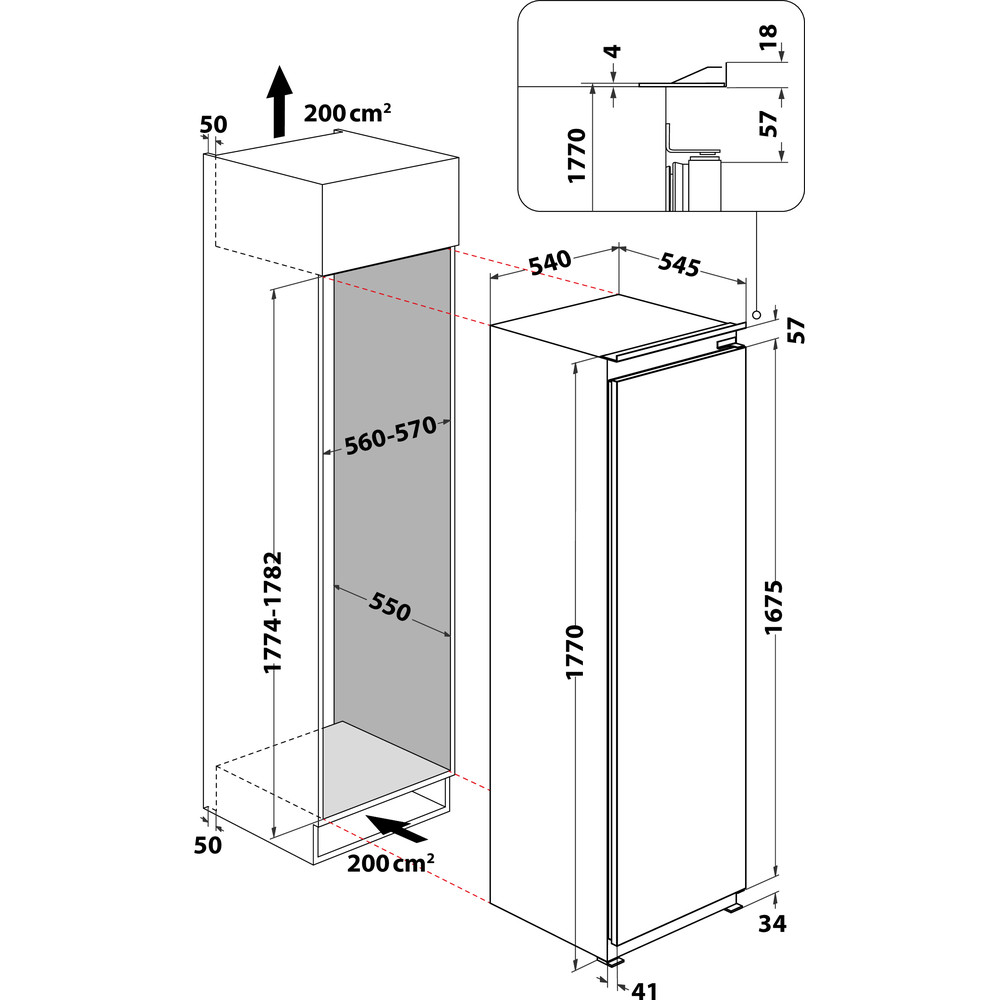 Indesit Refrigerador Encastre INSZ 18011 Blanco Technical drawing