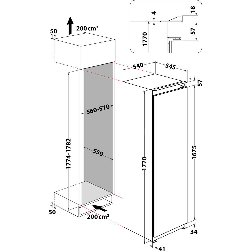 Indesit Réfrigérateur Encastrable INSZ 18011 Blanc Technical drawing