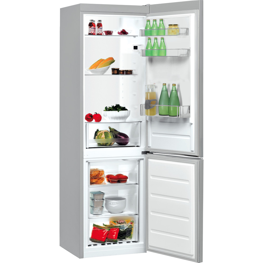 Indesit Combiné réfrigérateur congélateur Pose-libre LI7 S1E S Argent 2 portes Perspective open
