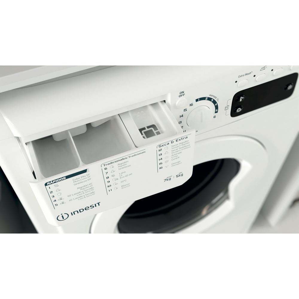Indesit Lavadora secadora Libre instalación EWDE 751251 W SPT N Blanco Cargador frontal Drawer