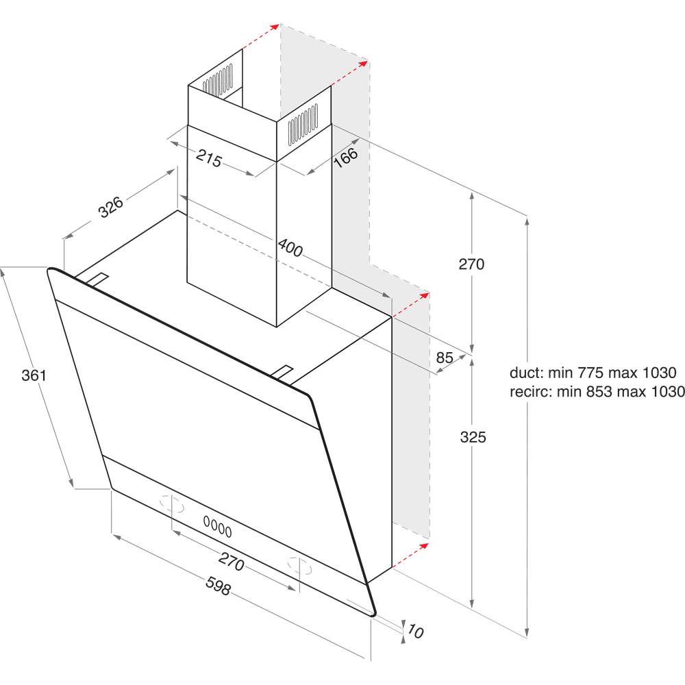 Indesit HOOD Built-in IHVP 6.6 LM K Black Wall-mounted Mechanical Technical drawing