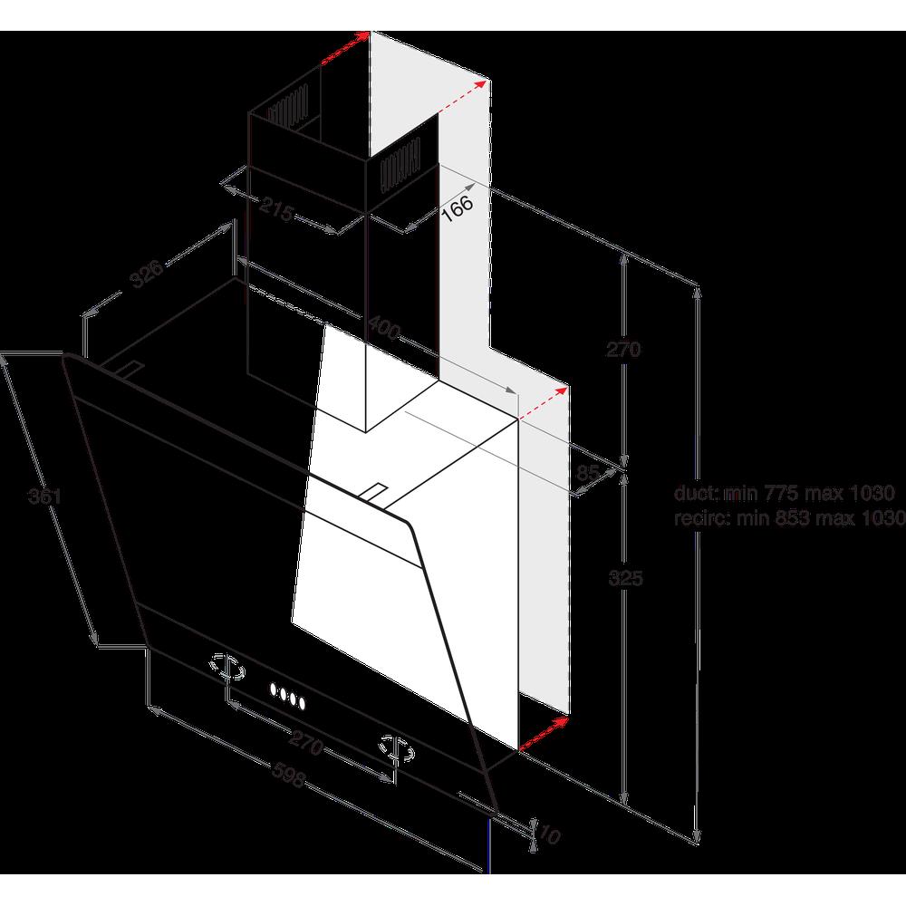 Indesit Kjøkkenvifte Integrert IHVP 6.6 LM K Svart Wall-mounted Mekanisk Technical drawing
