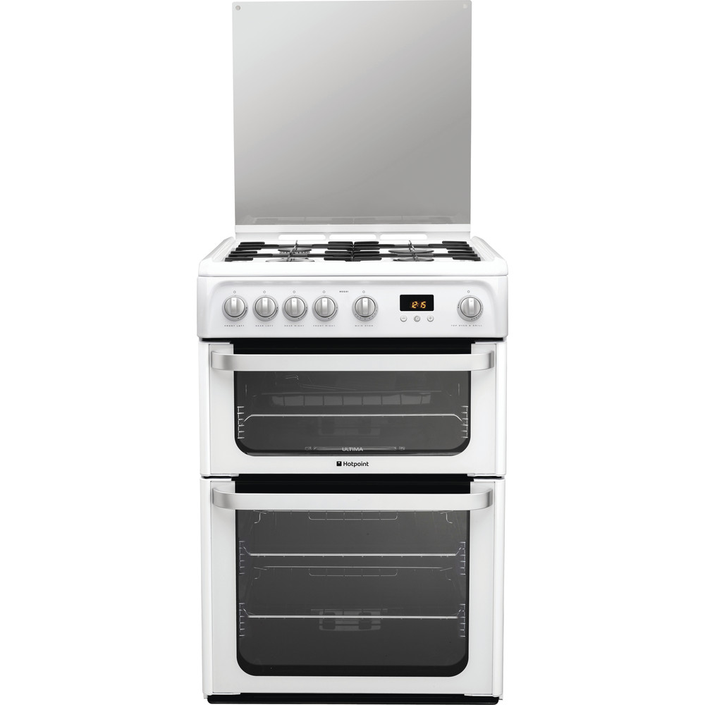 Hotpoint Double Cooker HUG61P White A+ Enamelled Sheetmetal Frontal
