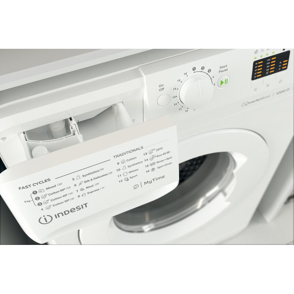 Indsit Maşină de spălat rufe Independent MTWA 81283 W EE Alb Încărcare frontală A +++ Drawer