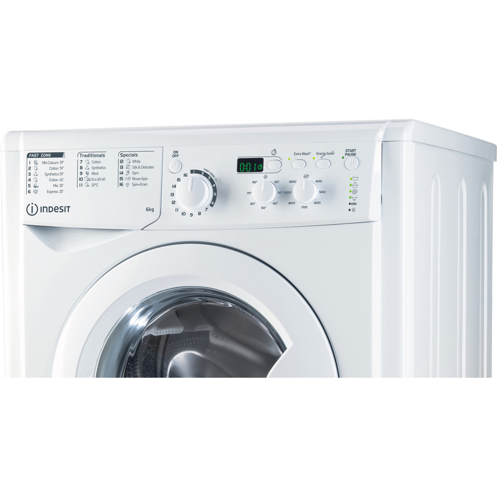Indesit Washing machine Free-standing EWSD 61251 W UK N White Front loader A++ Control panel