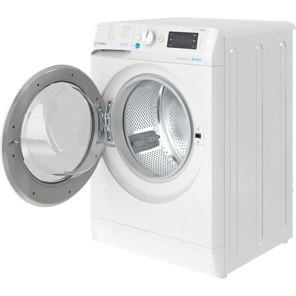 Indesit Washer dryer Free-standing BDE 961483X W UK N White Front loader Perspective open
