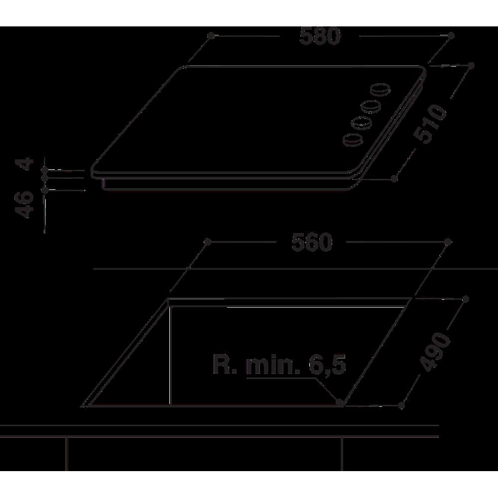 Indesit HOB RI 860 C Black Radiant vitroceramic Technical drawing
