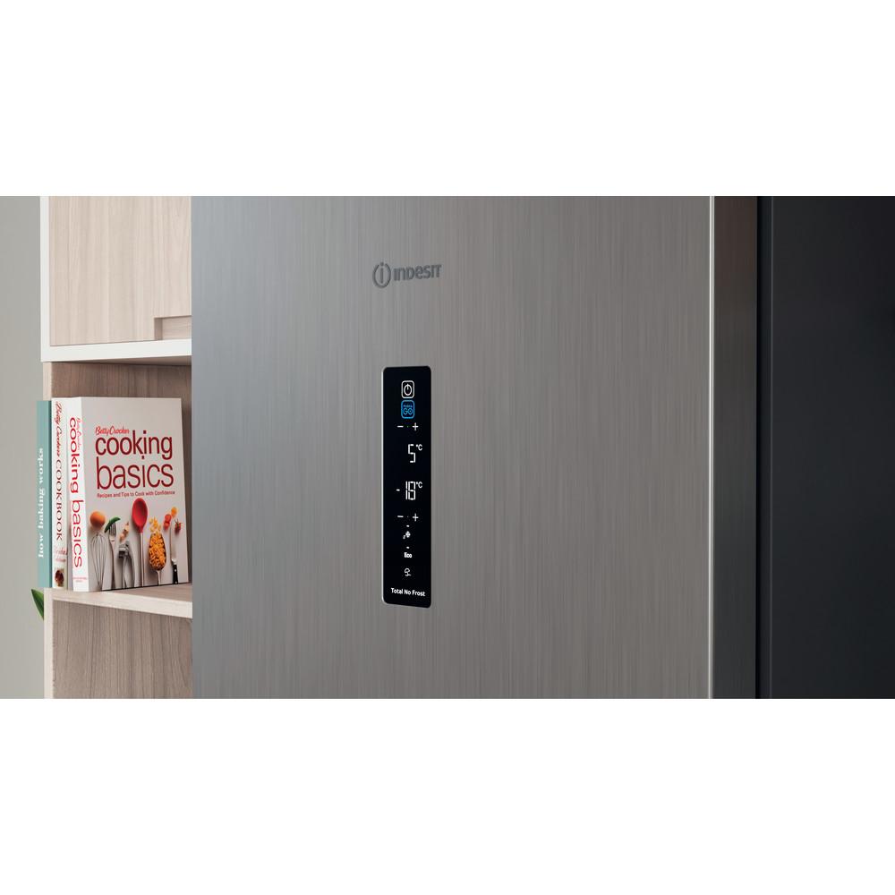 Indesit Combiné réfrigérateur congélateur Pose-libre INFC8 TT33X Inox 2 portes Lifestyle control panel