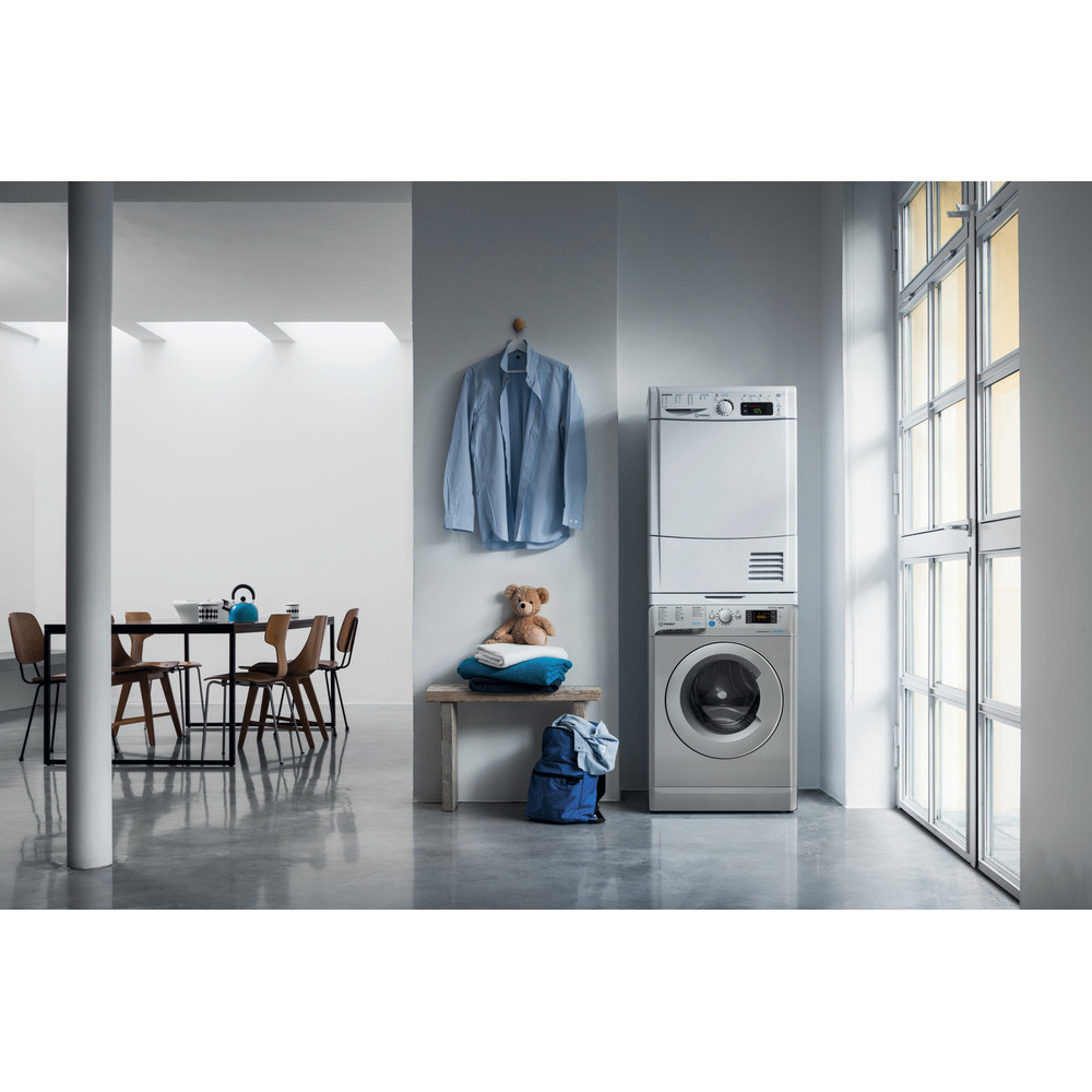 Indesit Washer dryer Free-standing BDE 861483X S UK N Silver Front loader Lifestyle frontal