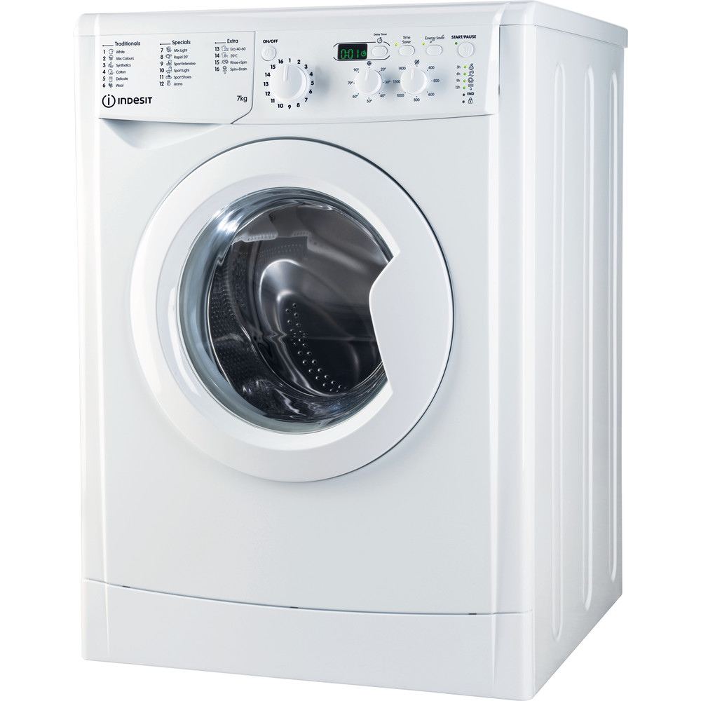 Indesit Washing machine Free-standing EWD 71452 W UK N White Front loader A+++ Perspective