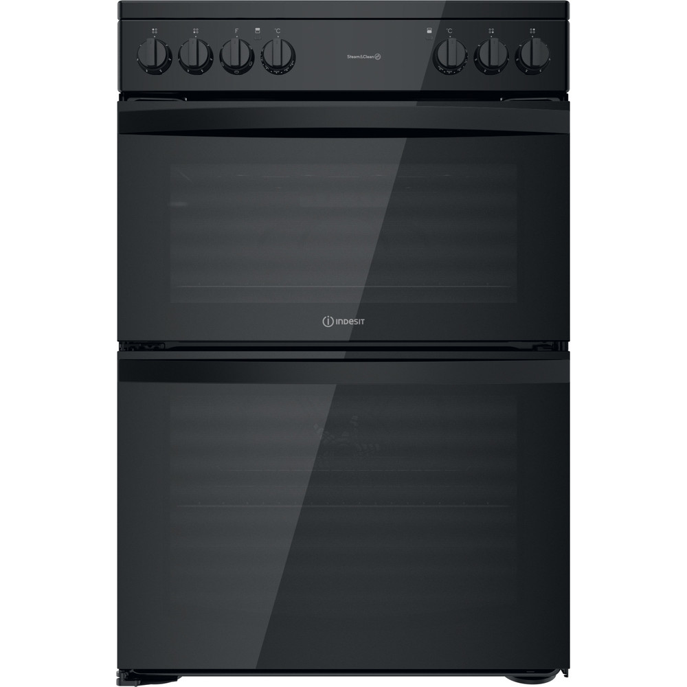 Indesit Double Cooker ID67V9KMB/UK Black A Frontal
