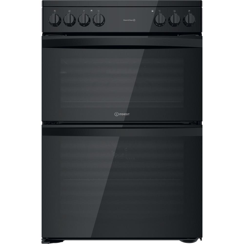 Indesit Double Cooker ID67V9KMB/UK Black B Frontal