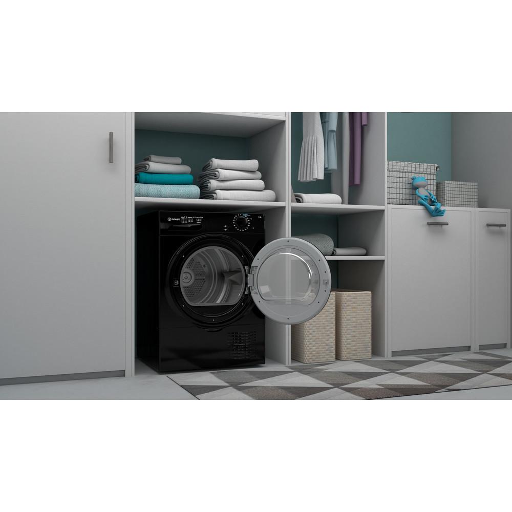 Indesit Dryer I2 D81B UK Black Lifestyle perspective open