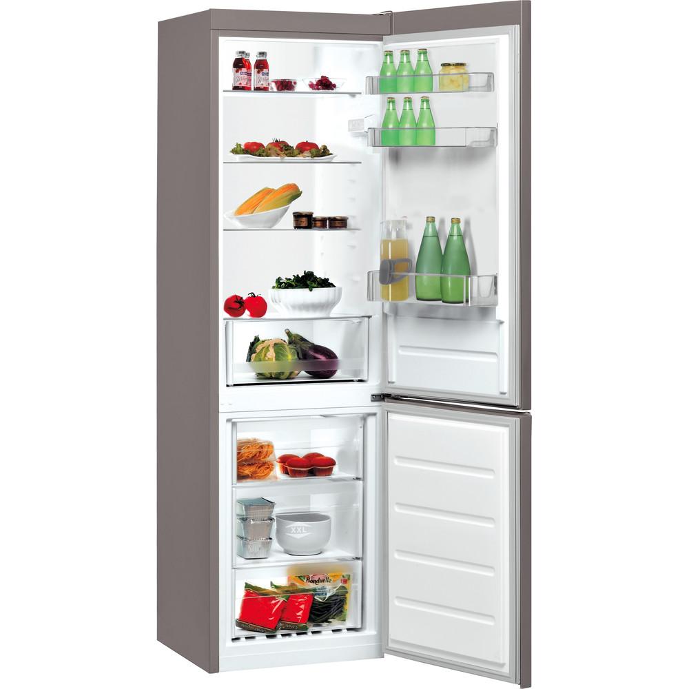 Indesit Kombinovaná chladnička s mrazničkou Voľne stojace LI8 S1 X Nerez 2 doors Perspective open